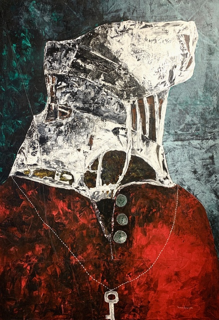 Sambou Diouf, 'Soutane rouge', 2019, Painting, Mixed media on canvas, OH GALLERY