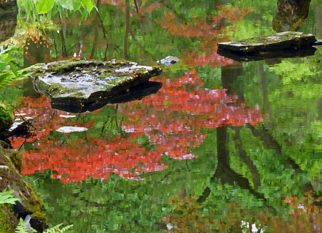 Larry Garmezy, 'Touch of Zen #2 - Calm, serene, colorful, waterscape photograph, Zen, Japanese Garden, The Hague, tranquil water, of coral red and green', 2017, Archway Gallery