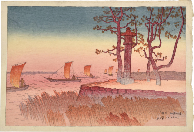Itō Shinsui, 'Eight Views of Omi: Evening Glow at Yabase', 1917, Scholten Japanese Art