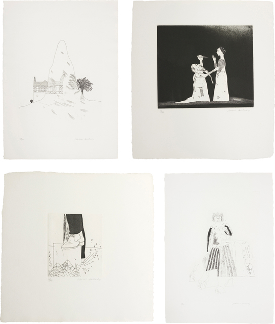 David Hockney, 'The Glass Mountain; Old Rinkrank Threatens the Princess; Digging up Glass; and The Rescued Princess, plates 29, 30, 31 and 33 from Illustrations for Six Fairy Tales from the Brothers Grimm', 1969, Phillips