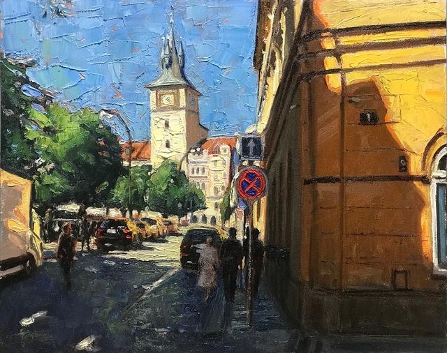 Brett Weaver, 'Prague Shadows', 2020, Painting, Oil on Board, Shain Gallery