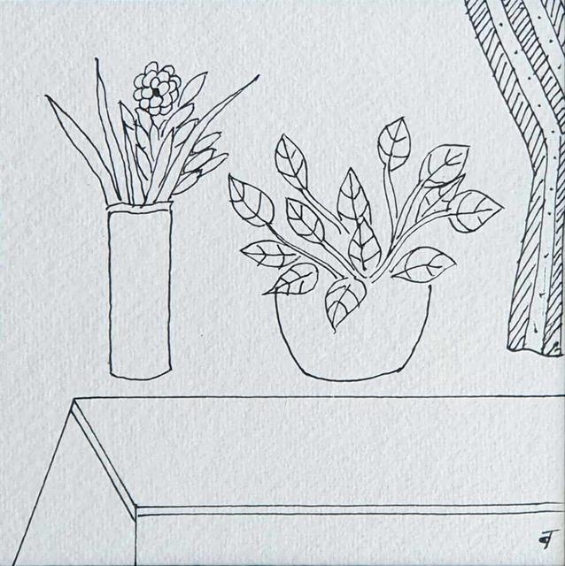 ", 'Still Life, Flower Vase, Ink on Paper by Indian Padmashree Artist ""In Stock"",' 2008, Gallery Kolkata"