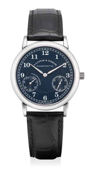 A. Lange & Söhne, 'An attractive white gold wristwatch with power reserve and blue dial', Circa 2002, Phillips