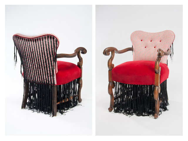 Sonya Clark, 'Cornrow Chair', 2011, Sculpture, Upholstered Chair, thread, embroidery, braiding, Goya Contemporary/Goya-Girl Press