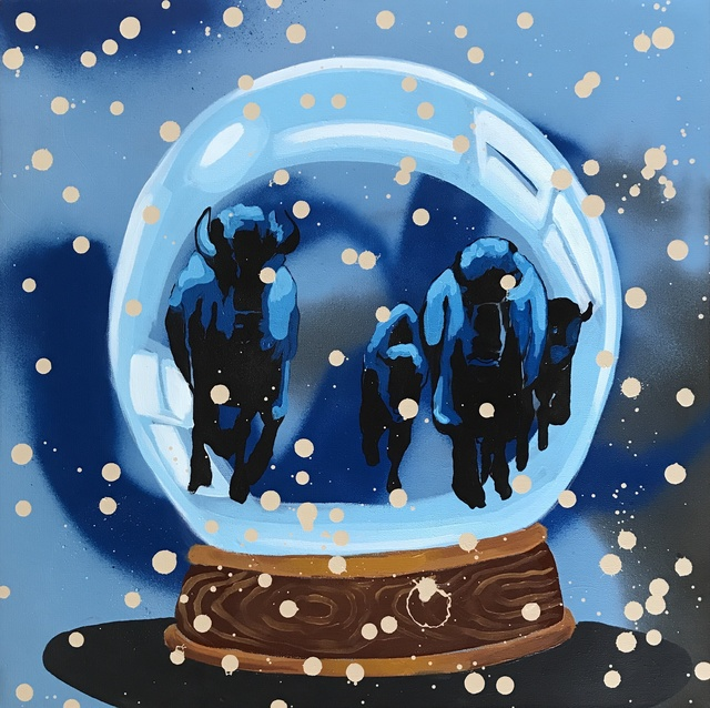 Frank Buffalo Hyde, 'Snow Globe Stampede', 2018, Painting, Acrylic on canvas, Modern West