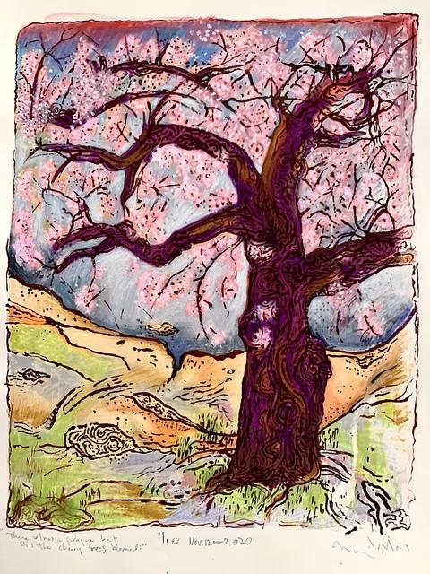 Nancer Lemoins, 'There is/was a plague but still the cherry trees bloomed. HUZZAH', 2020, Print, Silkscreen, gouache, caran d'Ache water soluble, Kala Art Institute