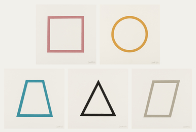 Five Geometric Figures in Five Colours