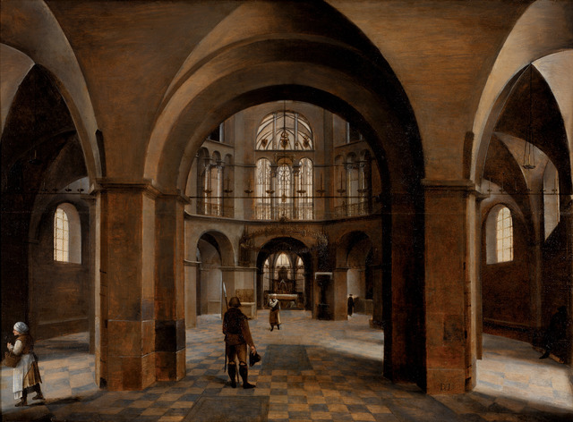 Hendrick van Steenwyck the Elder, 'Interior of Aachen Cathedral', 1575, Architecture, Oil on panel, RISD Museum