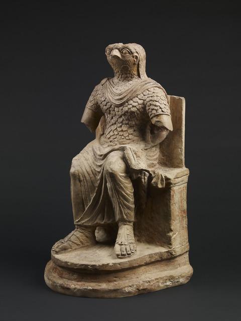 , 'Seated figure of the Roman god Horus, wearing Roman military costume,' 1st-2nd century AD, British Museum
