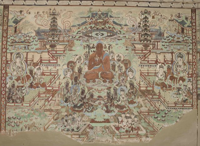 , 'Sukhavati (Amitabha's Pure Land), painting on the north wall of Mogao Cave 45,' 705–781, China Institute Gallery