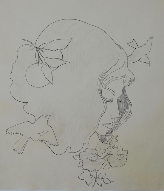 Andy Warhol, 'Untitled (Woman with Flowers and Birds)', ca. 1956, Long-Sharp Gallery