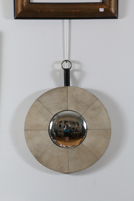 Jacques Adnet, 'Eccentric Mirror Covered with Parchment by Jacque Adnet', 1940-1950, Design/Decorative Art, Glass, wood covered with parchment, stitched leather, brass ring, Avant-Garde Gallery