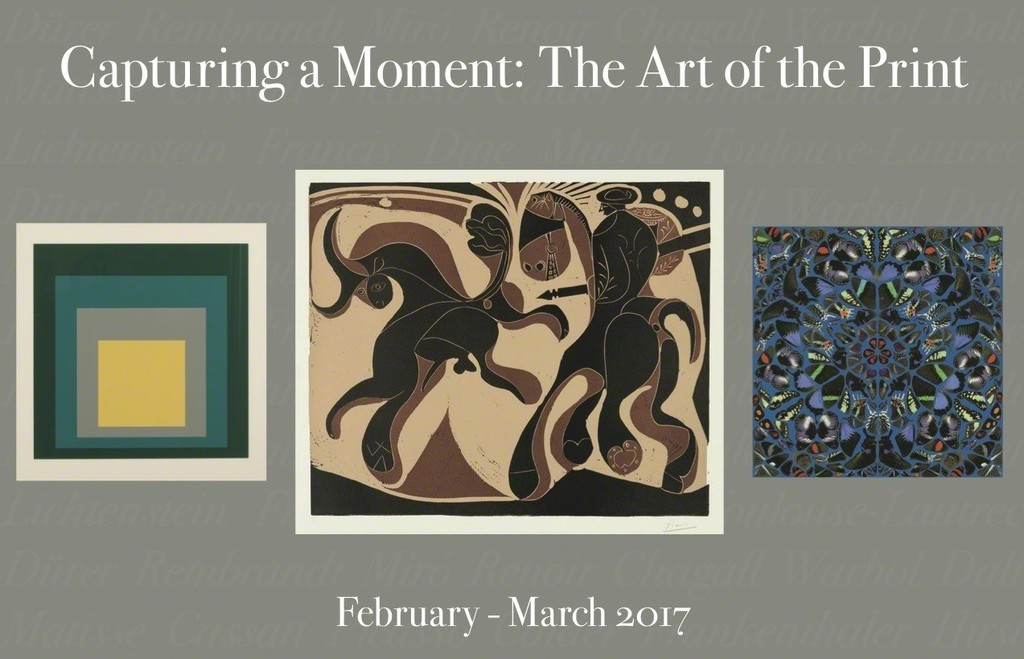 """Left --Josef Albers, """"Homage to the Square: SP-VI""""; Center -- Pablo Picasso, """"Taureau et Picador""""; Right -- Damien Hirst, """"Psalm: Miserere Mei Deus"""""""
