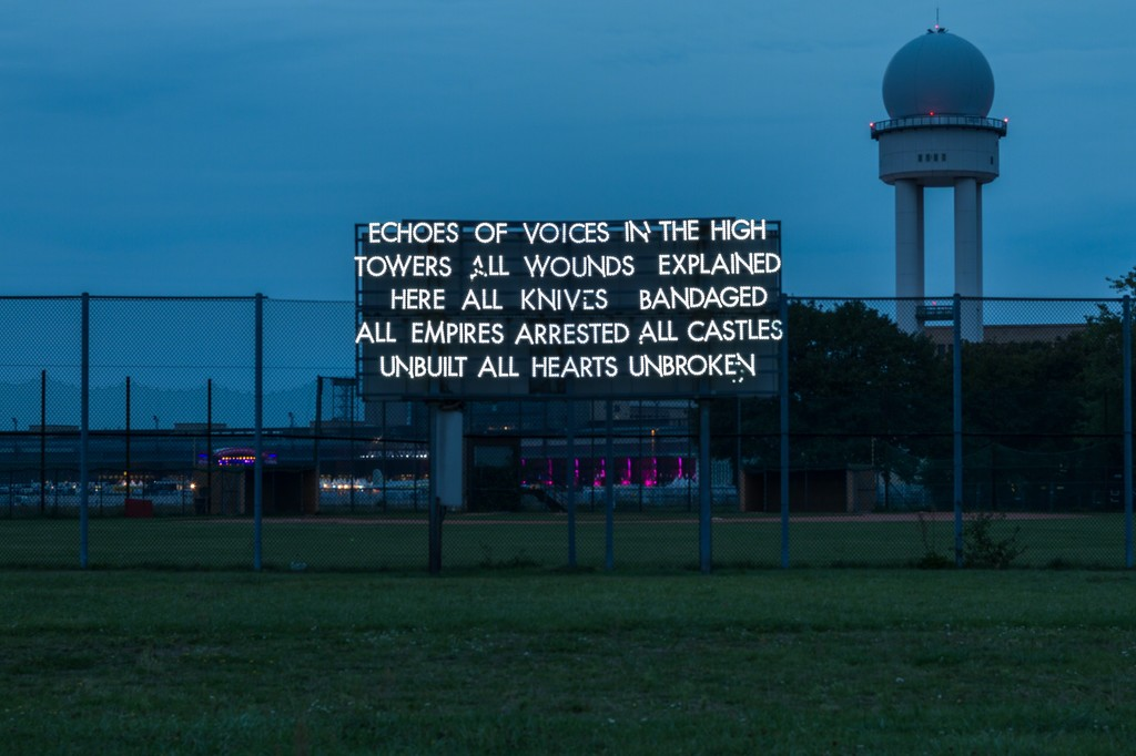 Robert Montgomery, site-specific installation on Tempelhofer Feld, 2012, photo: Benjamin Busch / NBR