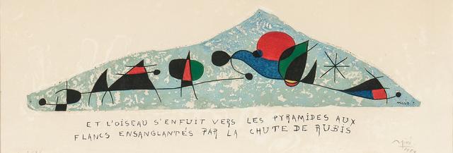 Joan Miró, 'Et l'oiseau s'enfuit vers les pyramides aux flancs ensanglantés par la chute de rubis', 1954, Skinner