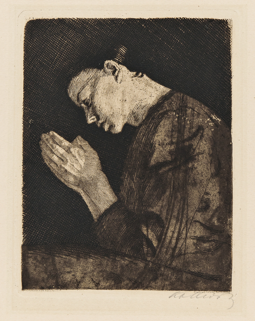 Käthe Kollwitz, 'Betendes Mädchen', 1892-published in 1931, Print, Etching with drypoint and aquatint printed in brown/black ink on wove paper, Skinner