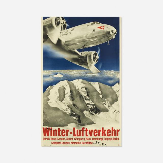 Herbert Matter, 'Winter-Luftverkehr poster', 1935, Wright
