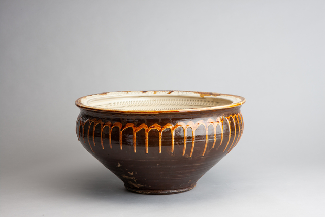 , 'Water Lily Bowl with Tobikanna (Blade Skip) Design and Poured Amber Glaze,' n/a, Pucker Gallery