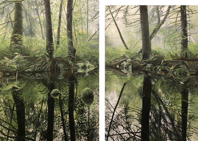 , 'Trees and Still Water (diptych),' 2012-2013, Mira Godard Gallery