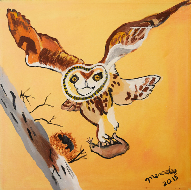 , 'Owl Flying with Meal,' 2015, Fountain House Gallery