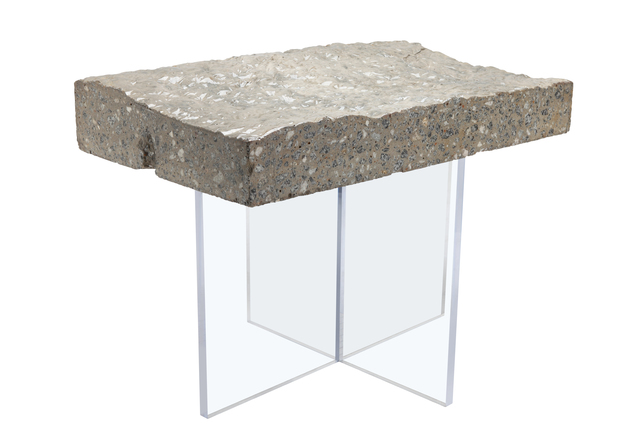 Benjamin Rollins Caldwell, 'Found Concrete Side Table Acrylic Base', 2010, Design/Decorative Art, Concrete, Acrylic