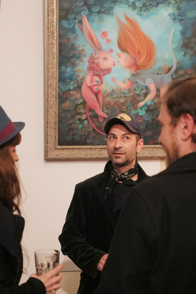 """Ivana & visitors in front of her work """"Five More Minutes"""" at Saturnalia"""