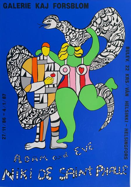 Niki de Saint Phalle, 'Adamand Eve, Galerie Kaj Florsblom Gallery Poster HOLIDAY SALE TAKE 20% OFF NEXT THREE WEEKS', 1987, David Lawrence Gallery