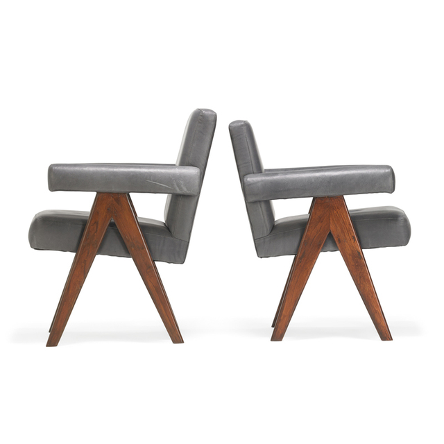 Pierre Jeanneret, 'Two Committee armchairs from the Chandigarh administrative buildings, France/India', 1950s, Rago