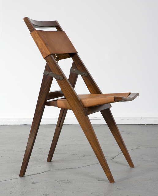 , 'Folding chair with jacaranda frame and leather seat,' ca. 1950, R & Company