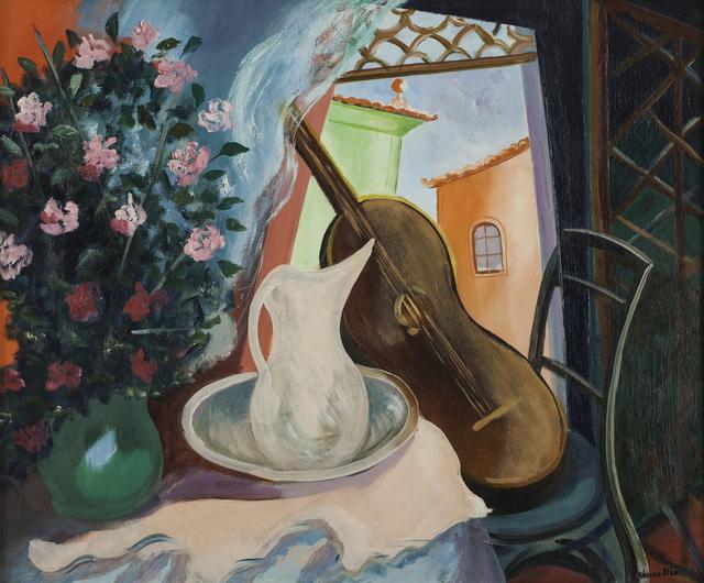 , 'Interior com Vaso de Flor e Violão,' Década de 1950, Simões de Assis Galeria de Arte