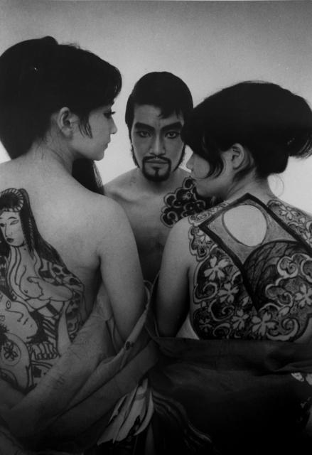 Daido Moriyama, 'Tenjo Sajiki theater group, 1968 (drawings on womens backs and man)', printed later, Michael Hoppen Gallery