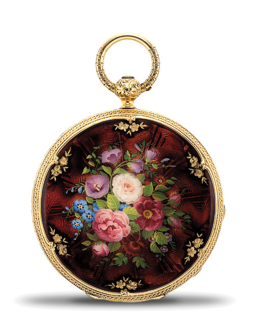 Patek Philippe, 'A very fine and attractive yellow gold and enamel openfaced pocket watch, retailed by H. B. Stanwood & Co., Boston', 1853, Phillips