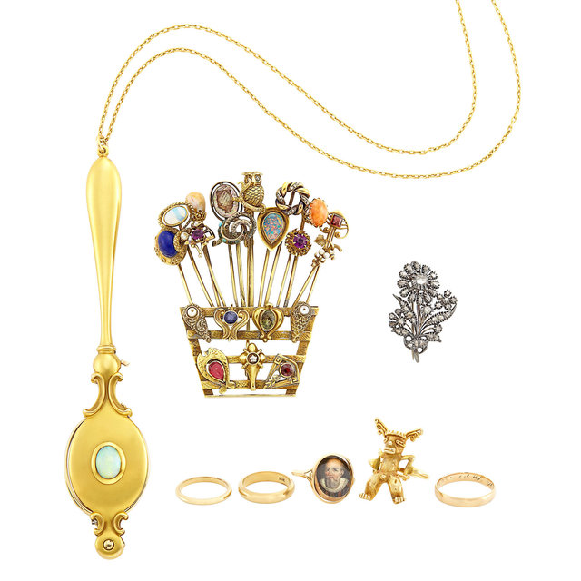 'Group of Antique and Gold, Low Karat Gold, Silver and Metal Rings, Brooches and Lorgnette with Chain Necklace', Doyle