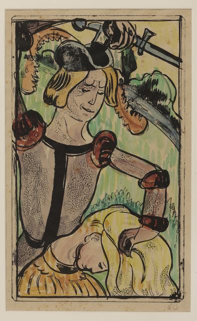 Émile Bernard, 'He takes her by her long beautiful hair', 1891-1892, Print, Zincograph with hand coloring by the artist, on paper, Hill-Stone, Inc.