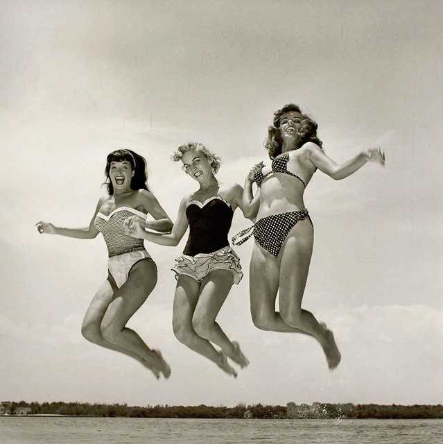 Bunny Yeager, 'Bettie Page, Carol Jean Lauritzen and Kathy Stanley Jumping (Key Biscayne, FL)', 1954, Spinello Projects