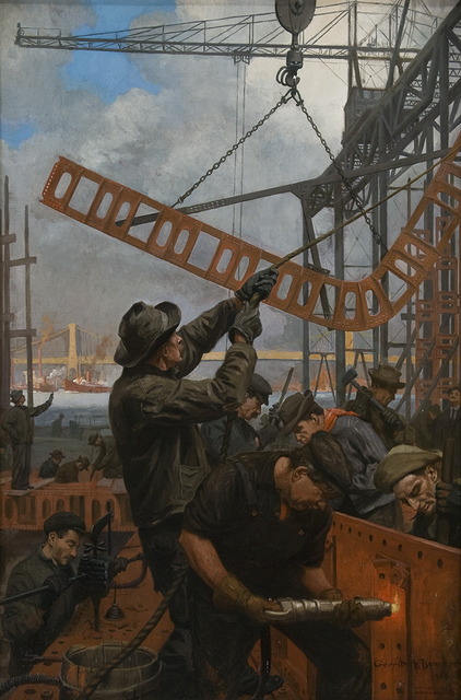 , 'Building of Manhattan Bridge,' 1909, Montclair Art Museum