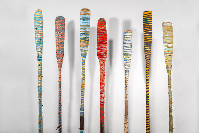 Raine Bedsole, ' Oars  (sizes vary, sold as individual pieces)', 2020, Sculpture, Wood, fabrics, glass, crystals nails, vintage maps and text, Callan Contemporary