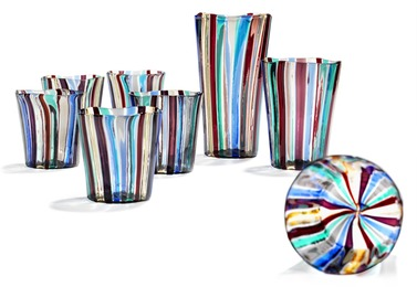 """""""A canne"""". Set comprising two small vases and six cups of clear glass. Inlaid with polychrome stripes."""
