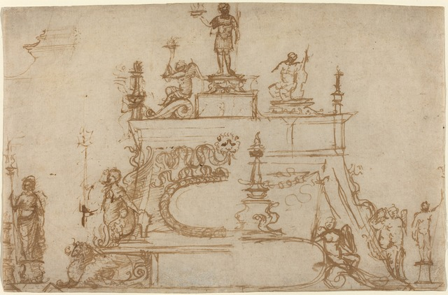Paduan, Possibly Andrea Briosco, called Riccio, 'Studies for Small Bronzes with Classical Motifs', 1490/1495, Drawing, Collage or other Work on Paper, Pen and brown ink on laid paper, National Gallery of Art, Washington, D.C.