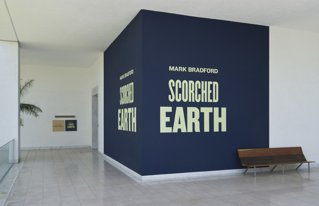 Installation view of Mark Bradford: Scorched Earth, Hammer Museum, Los Angeles, June 20–September 27, 2015. Photo by Brian Forrest