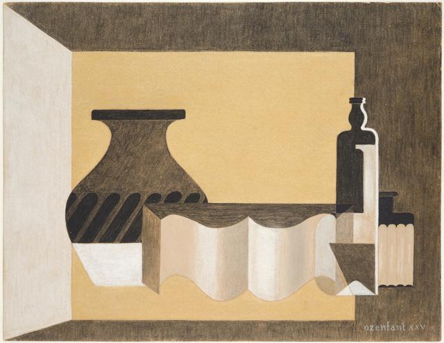 , ' Nature morte puriste - Vase, Bouteille et livre ouvert,' 1925, Galerie Zlotowski