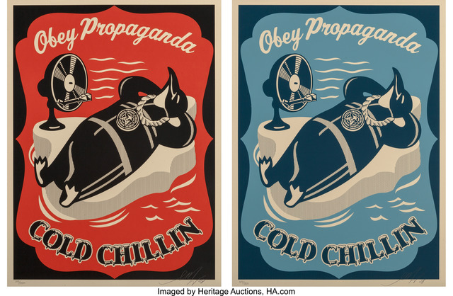 Shepard Fairey (OBEY), 'Cold Chillin (Red ad Blue) (two works)', 2008, Heritage Auctions