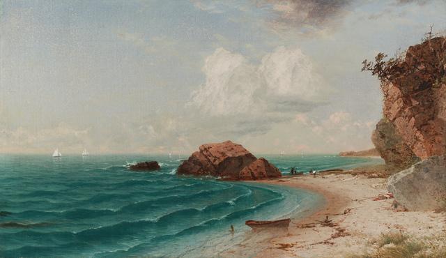 John Frederick Kensett, 'New England Coastal Scene with Figures', 1864, Questroyal Fine Art
