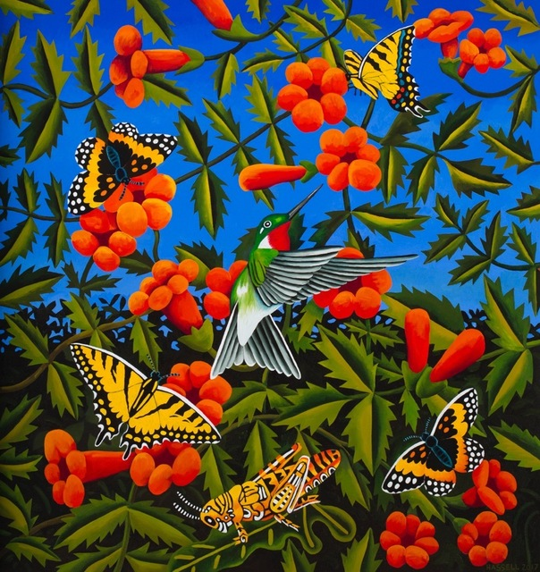 , 'Trumpet Vines with Hummingbird, Butterflies, and Grasshopper ,' 2017, William Reaves | Sarah Foltz Fine Art