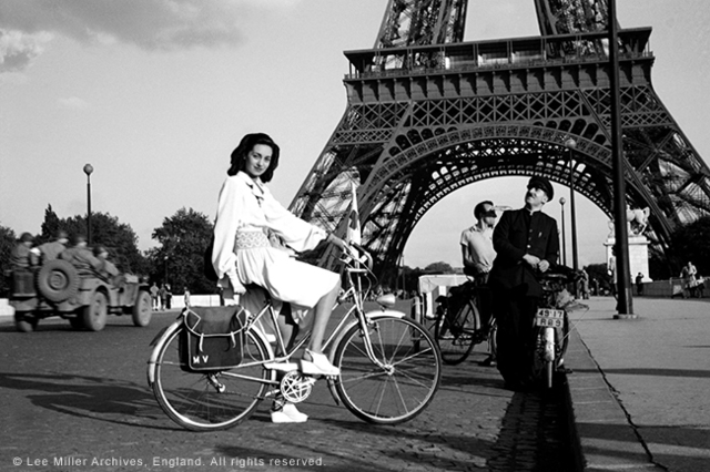 , 'For cycling: white rayon smocked with blue; apron-overskirt nearly meets behind, Paris, France 1944 , Paris, France,' 1944, °CLAIRbyKahn Galerie