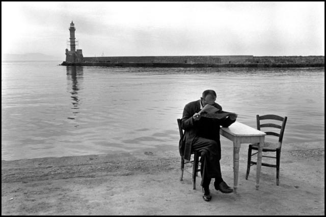 Constantine Manos, 'Man reading newspaper, Crete, Chania. A Greek Portfolio.', 1962, Print, Gelatin silver print, Magnum Photos