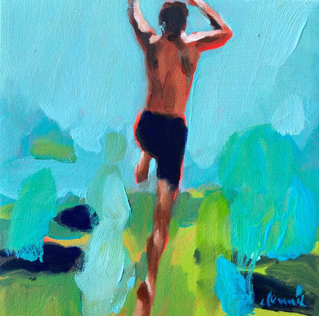 Elizabeth Lennie, '''Mythography 136'' Oil painting of man jumping with a blue and green background', 2019, Eisenhauer Gallery