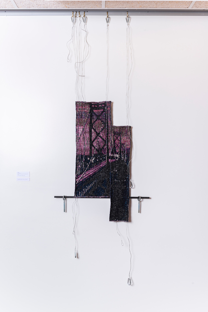 Kira Dominguez Hultgren, 'Bridge', 2019, Textile Arts, Digital-hand loomed cotton, metallic thread, wire, Eleanor Harwood Gallery