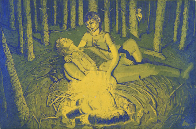 Tyler Bright Hilton, 'Finally, she found them, River asleep in her arms, and Minmei had to admit she could see the appeal.', 2018, Drawing, Collage or other Work on Paper, Etching with aquatint, VIVIANEART