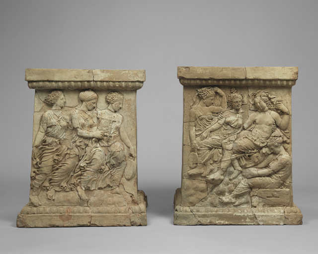 'Pair of Altars with Relief Decoration',  first quarter of 4th century B.C., J. Paul Getty Museum